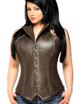 Top Drawer Plus Size Steel Boned Faux Leather Collared Corset Top